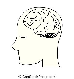 cérebro, cabeça, pretas, branca, human