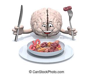 cérebro, caricatura, números, come