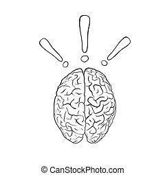 cérebro, com, ponto de exclamação