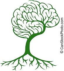 cérebro, conceito, árvore