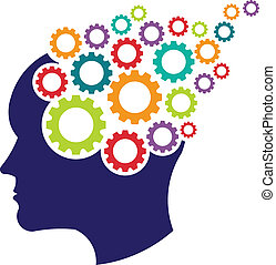 cérebro, conceito, Engrenagens, logotipo