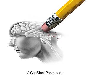 cérebro, conceito, perdendo, função