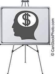cérebro, dólar, homem