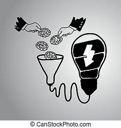 cérebro, de, equipe, é, a, poder, de, idéia, vetorial, ilustração, doodle, esboço, mão, desenhado, com, pretas, linhas, isolado, ligado, cinzento, experiência., brainstorming., trabalho equipe, negócio, concept.