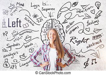 cérebro, diferente, conceito, lados