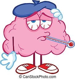 cérebro, doente, termômetro
