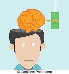 cérebro, drain., a, perda, de, talento