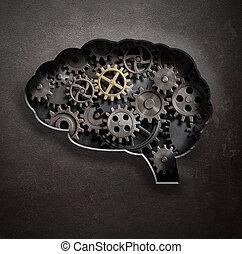 cérebro, engrenagens, e, cogs, conceito, 3d, ilustração