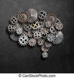 cérebro, engrenagens, e, cogs, modelo, 3d, ilustração