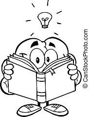 cérebro, esboçado, livro leitura