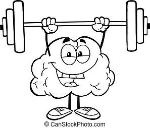 cérebro, esboçado, pesos, levantamento