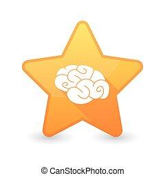 cérebro, estrela, isolado, ícone