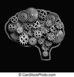 cérebro, feito, de, metal, engrenagens, e, cogs, 3d, ilustração