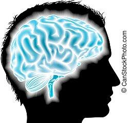 cérebro, glowing, conceito, homem