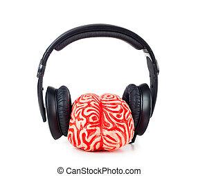 cérebro humano, borracha, com, fones