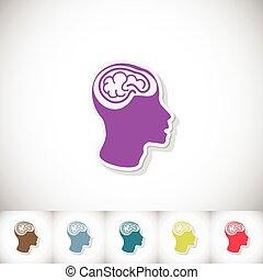 cérebro humano, em, head., apartamento, adesivo, com, sombra, branco, fundo