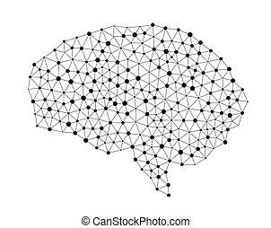 cérebro humano, isolado, branco, fundo, em, a, forma, de, inteligência artificial, para, tecnologia, conceito, 3d, ilustração