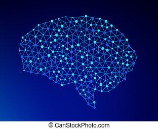 cérebro humano, ligado, experiência azul, em, a, forma, de, inteligência artificial, para, tecnologia, conceito, 3d, ilustração