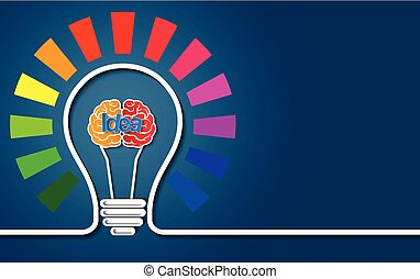 cérebro, idéia negócio, finance., bulbo, luz, concept., coloridos, vetorial, criativo, ilustração, icon.