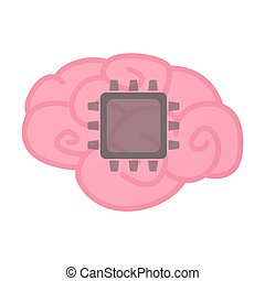 cérebro, isolado, cpu