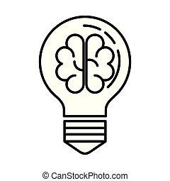 cérebro, luz, fazendo temporal, bulbo