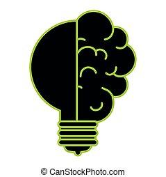 cérebro, luz, idéia, bulbo