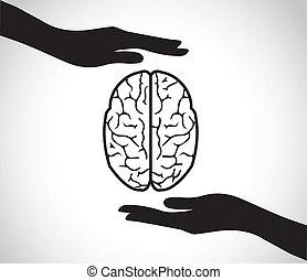 cérebro, mão, saúde, mental, protegendo