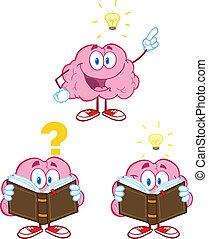 cérebro, mascote, caricatura, cobrança, 10