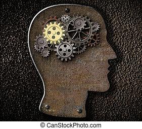 cérebro, mecanismo, engrenagens, e, cogs, feito, de, metal...