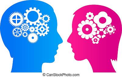 cérebro, mulher, homem