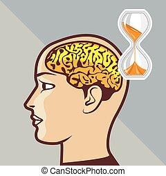 cérebro, pensando, processo