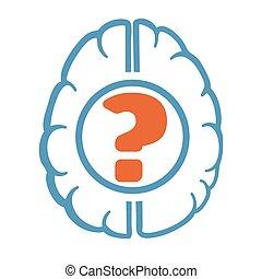 cérebro, pergunta, human, marca