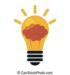 cérebro, símbolo, bulbo leve