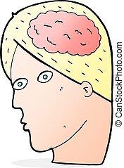 cérebro, símbolo, cabeça, caricatura