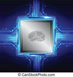 cérebro, símbolo, ligado, computador, processador