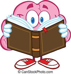 cérebro, sorrindo, livro leitura
