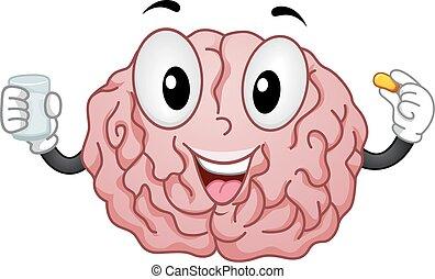 cérebro, suplemento, mascote