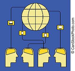 cérebros, conectado, mundo