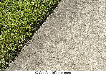césped, concreto, borde, verde, encontrar, acera, pasto o ...