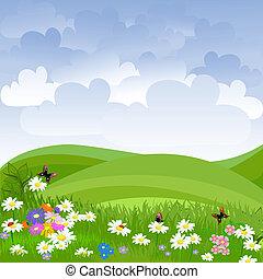 césped, flores, paisaje