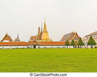 césped, phra, bangkok, frente, wat, kaew