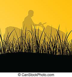 césped, resumen, ilustración, cortacéspedes, campo, corte, vector, tractor, plano de fondo, pasto o césped, paisaje, hombre