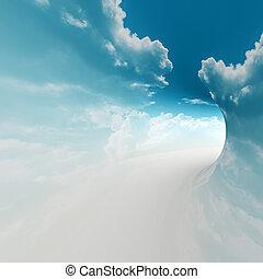 céu, 3d, fazendo, fundo