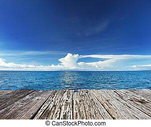 céu, acima, mar