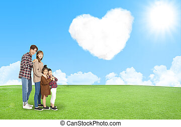 céu, amor, nuvem, família, feliz