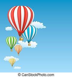 céu, ar, balões, quentes