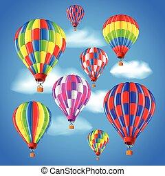 céu, ar, quentes, vetorial, fundo, balões