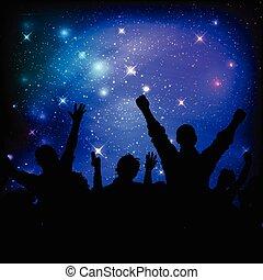 céu, audiência, 0208, fundo, noturna, galáxia