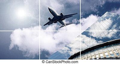 céu, avião, azul