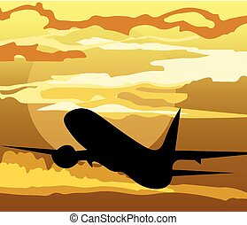 céu, avião, silueta, ar